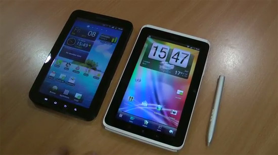 samsung galaxy tab vs htc flyer tablet vergleich video. Black Bedroom Furniture Sets. Home Design Ideas