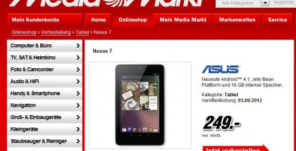 Google Nexus 7 bei Media Markt