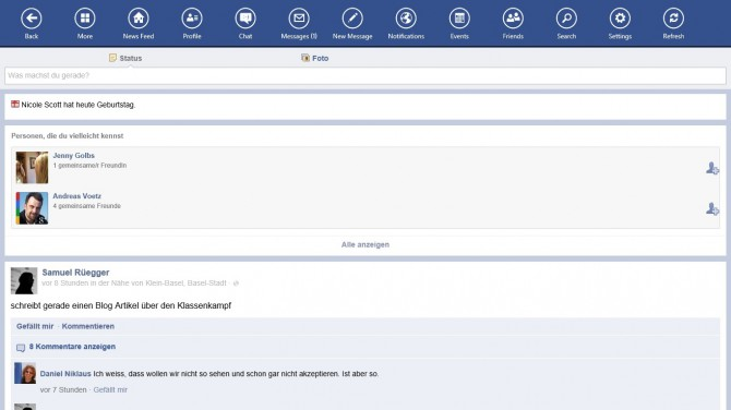 Facebook Touch App für Windows 8