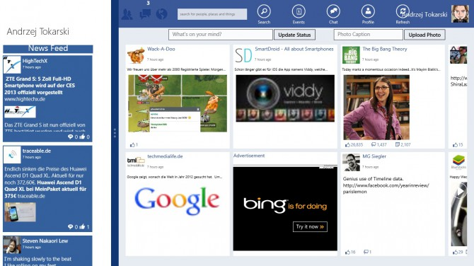 Facebook für Windows 8 Tablets
